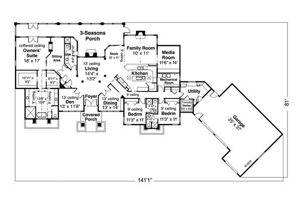 Home Plan - Prairie Floor Plan - Main Floor Plan #124-1160