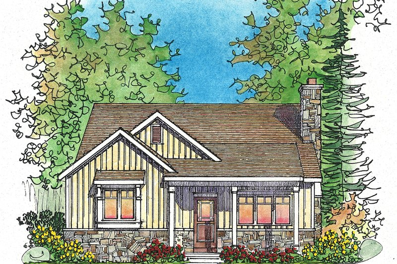 Cottage Style House Plan - 2 Beds 2 Baths 1191 Sq/Ft Plan #22-571 Exterior - Front Elevation