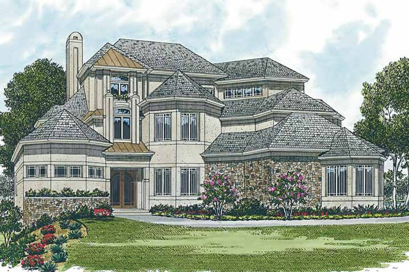 Mediterranean Exterior - Front Elevation Plan #453-201 - Houseplans.com