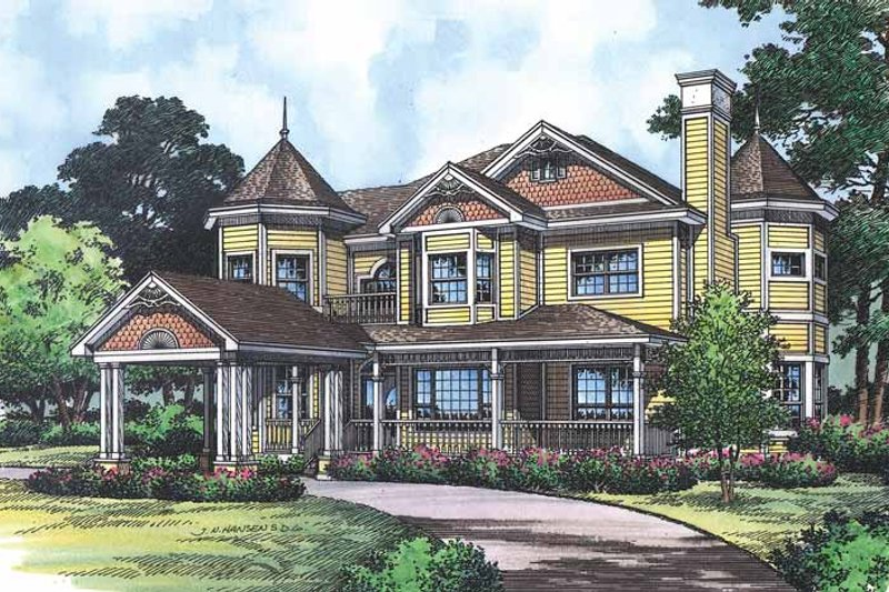 Victorian Exterior - Front Elevation Plan #417-668
