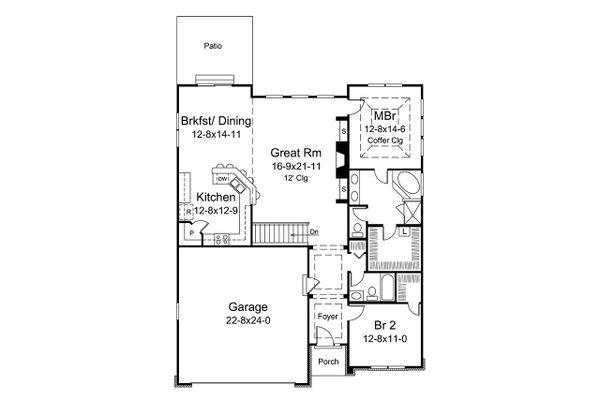 Craftsman Floor Plan - Main Floor Plan Plan #57-666