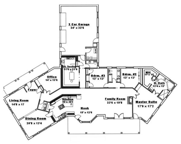 Adobe / Southwestern Floor Plan - Main Floor Plan Plan #117-832