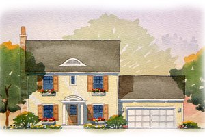 Colonial Exterior - Front Elevation Plan #901-75