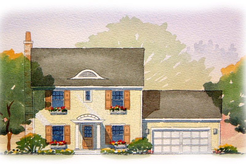 Colonial Style House Plan - 3 Beds 2.5 Baths 1810 Sq/Ft Plan #901-75