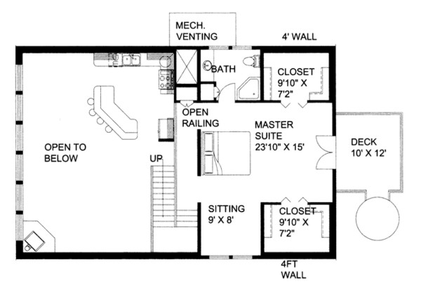 Contemporary Floor Plan - Upper Floor Plan Plan #117-860