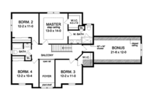 Colonial Floor Plan - Upper Floor Plan Plan #1010-55