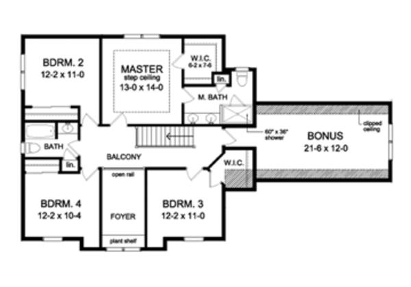 House Design - Colonial Floor Plan - Upper Floor Plan #1010-55