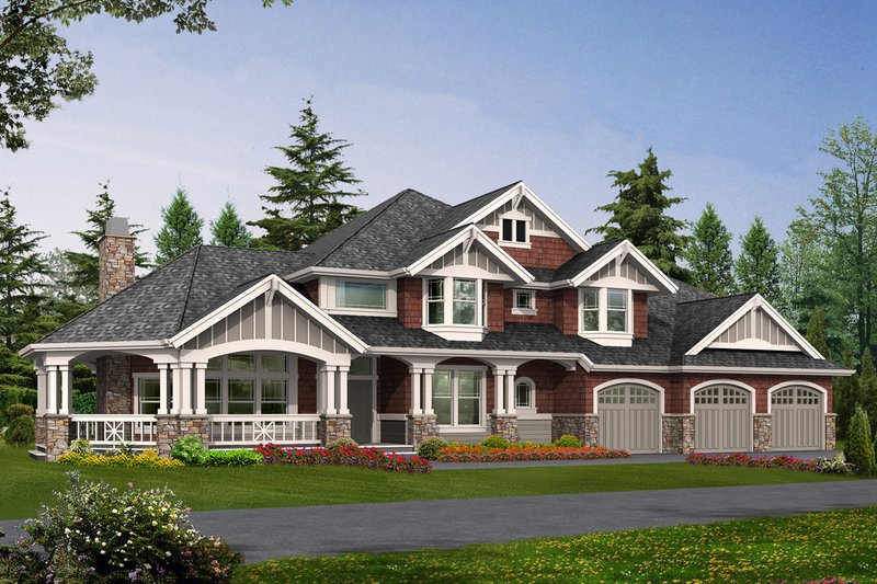 Craftsman Style House Plan - 4 Beds 3.5 Baths 4220 Sq/Ft Plan #132-165 Exterior - Front Elevation