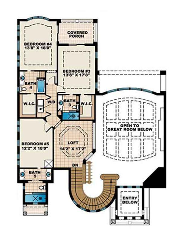Mediterranean Floor Plan - Upper Floor Plan Plan #1017-171