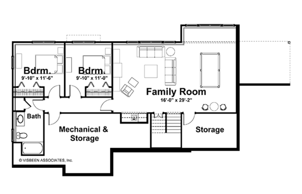 Craftsman Floor Plan - Lower Floor Plan Plan #928-164