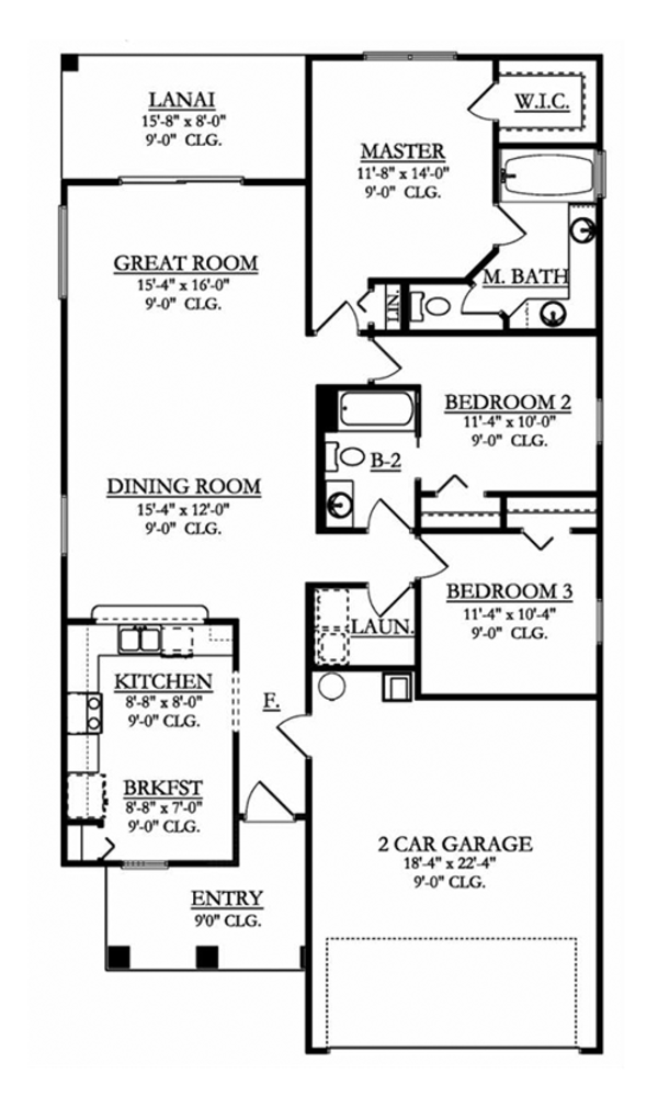 Adobe / Southwestern Floor Plan - Main Floor Plan Plan #1058-95