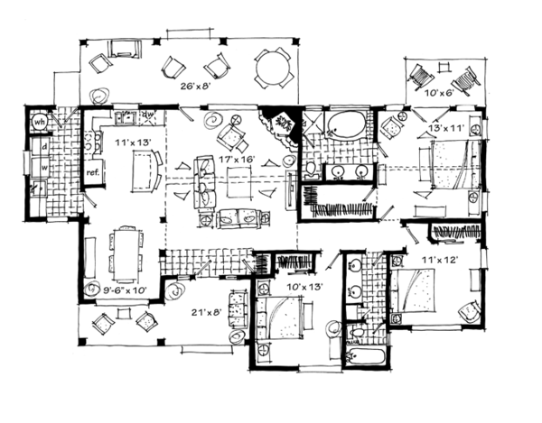 Ranch Floor Plan - Main Floor Plan Plan #942-21
