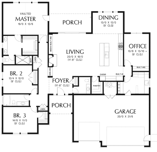 Craftsman Floor Plan - Main Floor Plan Plan #48-897