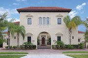 Mediterranean Style House Plan - 5 Beds 4 Baths 4457 Sq/Ft Plan #1058-17 Exterior - Front Elevation