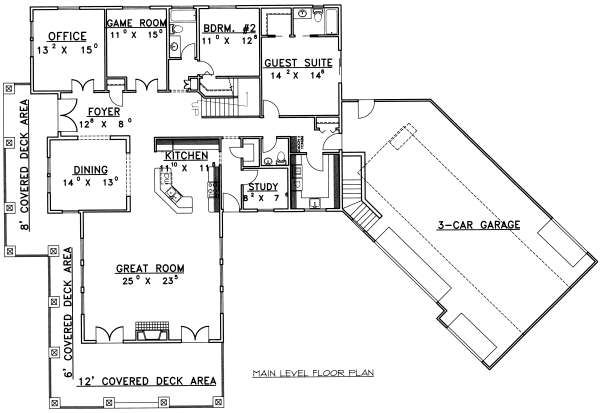 Bungalow Floor Plan - Main Floor Plan Plan #117-581