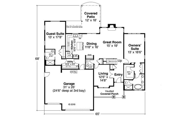 Craftsman Floor Plan - Main Floor Plan #124-1212