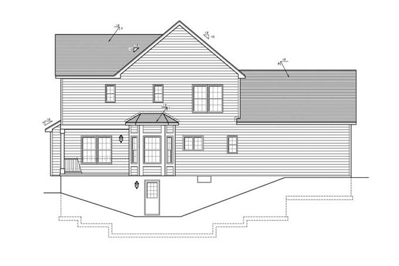 Colonial Exterior - Rear Elevation Plan #1010-73 - Houseplans.com