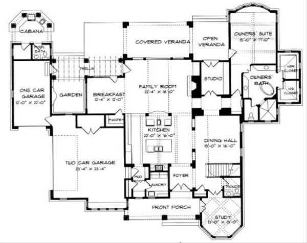 Craftsman Floor Plan - Main Floor Plan Plan #413-122