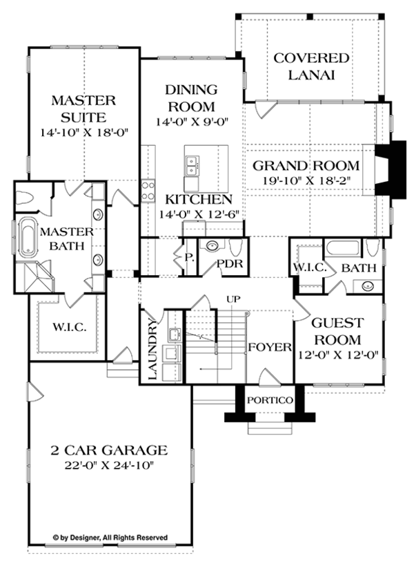 European Floor Plan - Main Floor Plan Plan #453-626