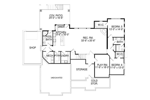 Craftsman Floor Plan - Lower Floor Plan Plan #920-28