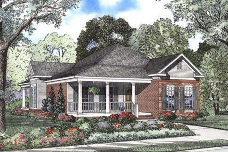 Farmhouse Style House Plan - 3 Beds 2 Baths 1601 Sq/Ft Plan #17-1126 Exterior - Front Elevation