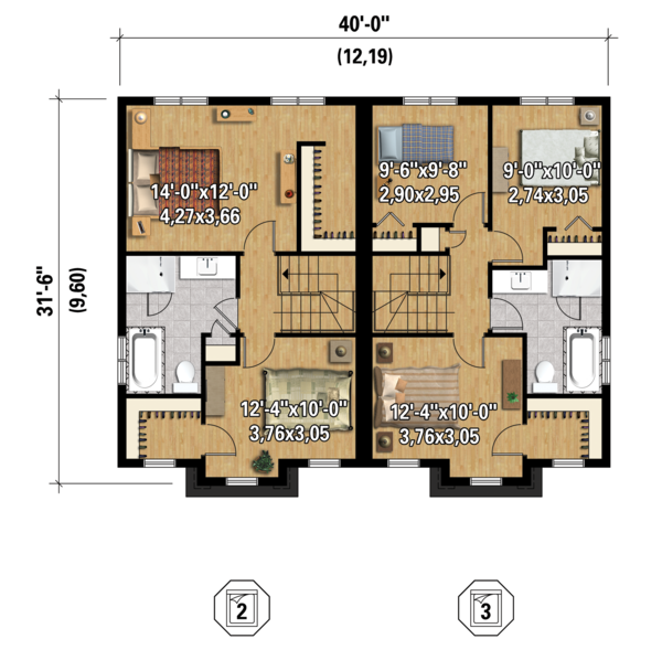 Contemporary Floor Plan - Upper Floor Plan Plan #25-4378