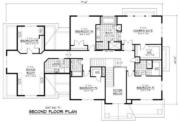 Colonial Floor Plan - Upper Floor Plan Plan #51-331