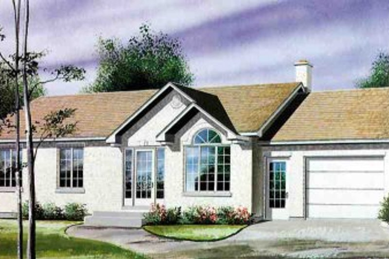 Ranch Style House Plan - 3 Beds 1 Baths 1056 Sq/Ft Plan #25-4104 Exterior - Front Elevation