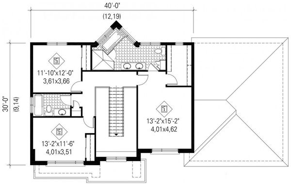 Contemporary Floor Plan - Upper Floor Plan Plan #25-4625