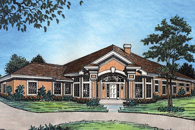 European Style House Plan - 3 Beds 2.5 Baths 2656 Sq/Ft Plan #417-304 Exterior - Front Elevation
