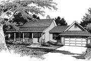 Country Style House Plan - 3 Beds 2 Baths 1409 Sq/Ft Plan #14-136 Exterior - Front Elevation
