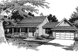 Country Exterior - Front Elevation Plan #14-136