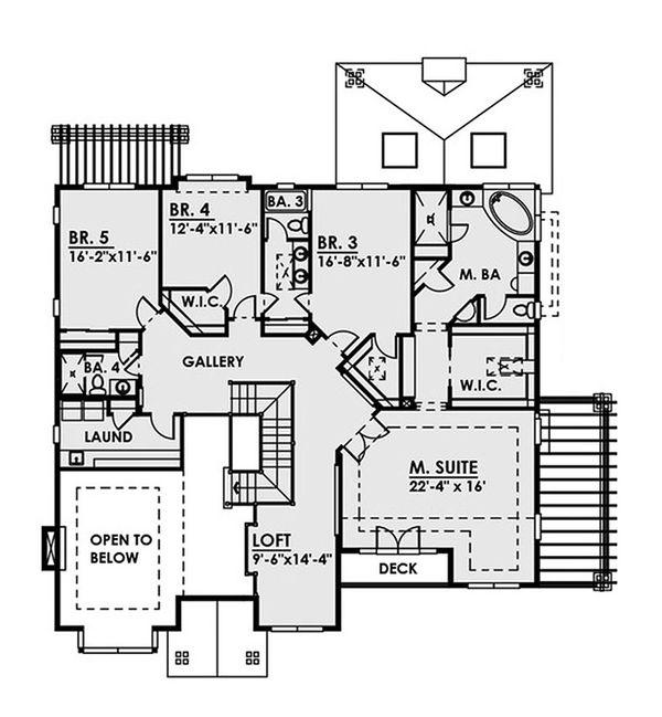 Contemporary Floor Plan - Upper Floor Plan Plan #1066-36