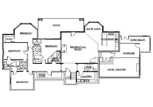 House Plan Design - European Floor Plan - Lower Floor Plan #5-319