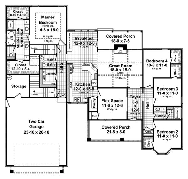 European Floor Plan - Main Floor Plan Plan #21-439