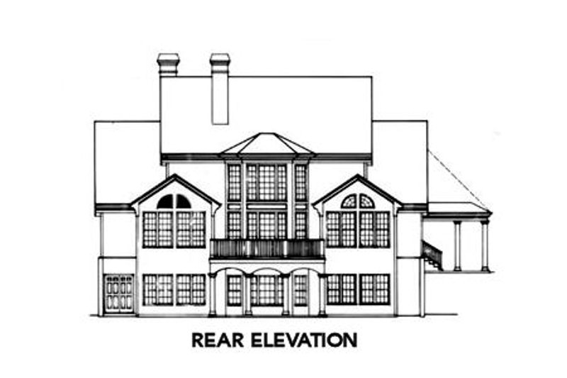 Colonial Exterior - Rear Elevation Plan #429-13 - Houseplans.com