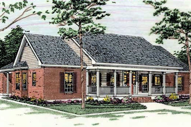 Southern Exterior - Front Elevation Plan #406-147 - Houseplans.com