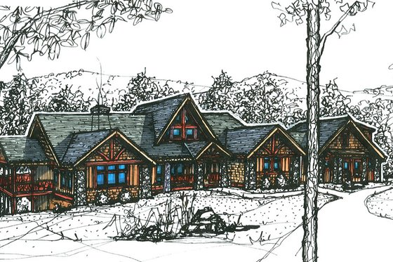 Craftsman Exterior - Front Elevation Plan #921-10