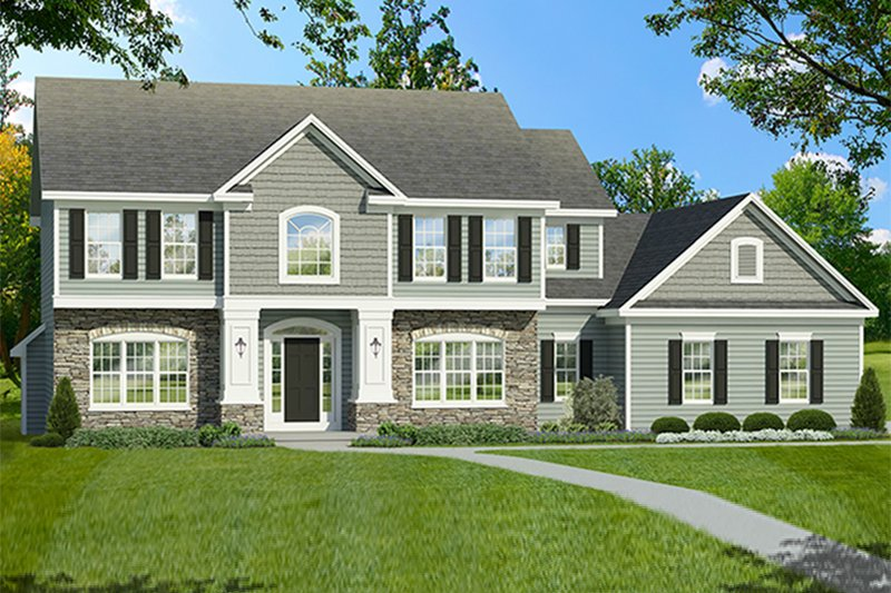 Architectural House Design - Colonial Exterior - Front Elevation Plan #1010-196
