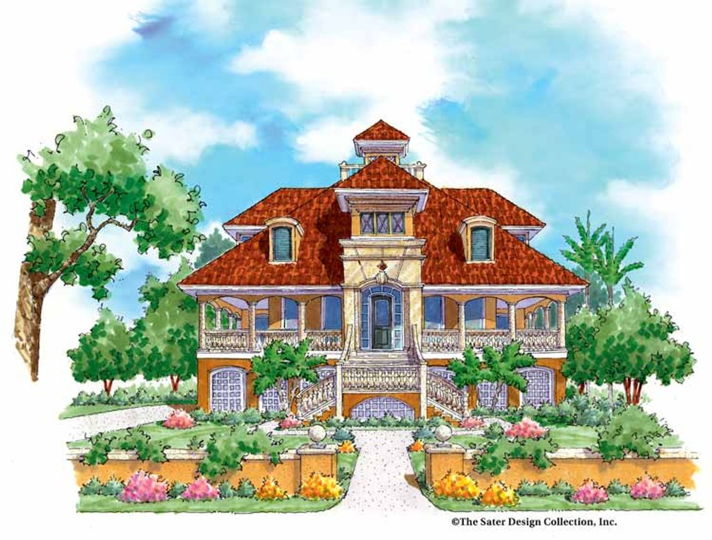 The Sater Design Collection mediterranean style house plan - 3 beds 3.5 baths 3285 sq/ft plan #930-137