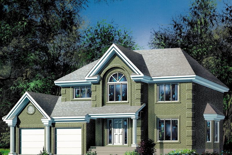 European Style House Plan - 4 Beds 1.5 Baths 2541 Sq/Ft Plan #25-2015 Exterior - Front Elevation