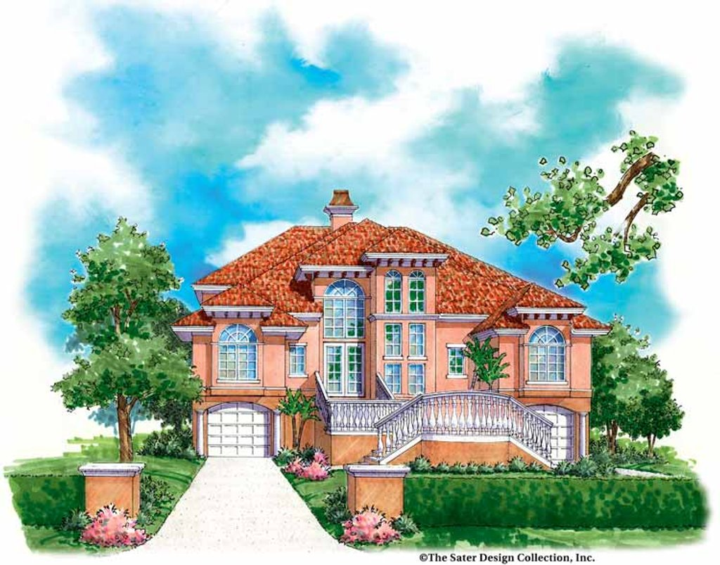The Sater Design Collection mediterranean style house plan - 3 beds 4 baths 3839 sq/ft plan #930-125