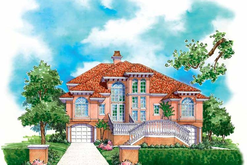 Mediterranean Exterior - Front Elevation Plan #930-125