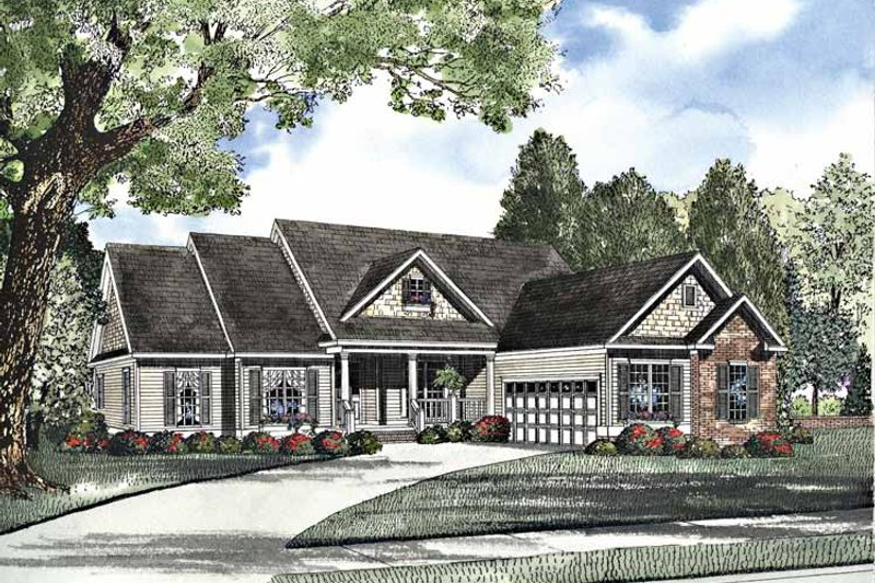 Country Exterior - Front Elevation Plan #17-3118