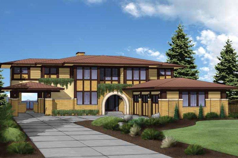 Architectural House Design - Prairie Exterior - Front Elevation Plan #569-30
