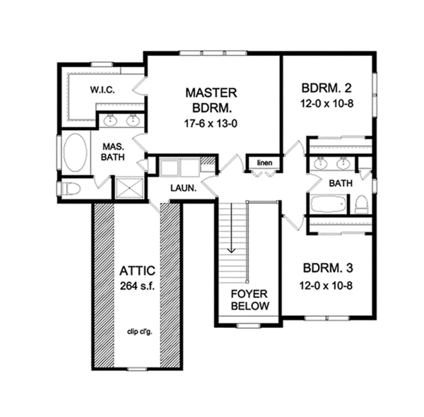 Country Floor Plan - Upper Floor Plan Plan #1010-121