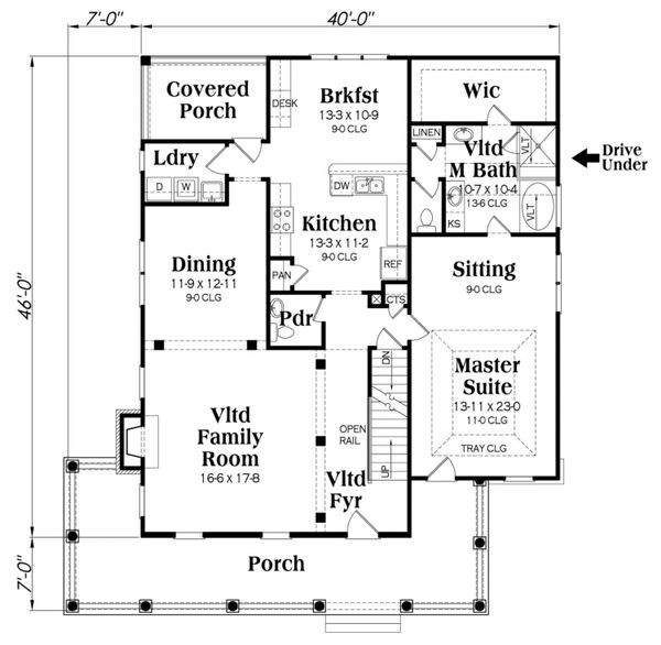 Country Floor Plan - Main Floor Plan Plan #419-249