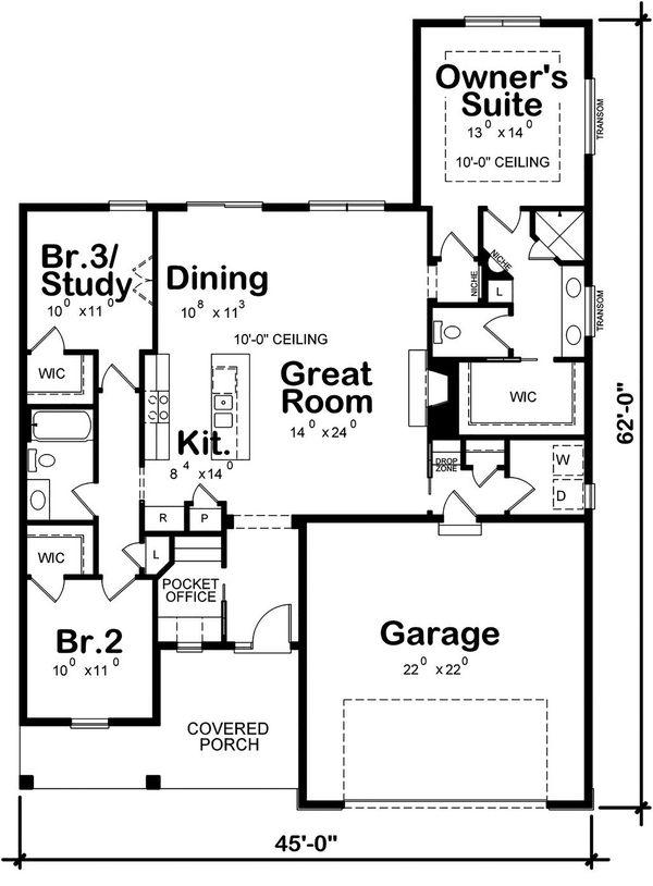 House Plan Design - Farmhouse Floor Plan - Main Floor Plan #20-2393
