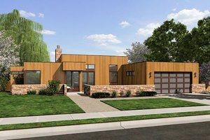 Modern Exterior - Front Elevation Plan #48-505