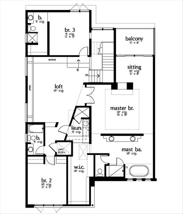 Modern Floor Plan - Upper Floor Plan Plan #449-9